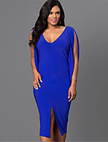 Women's Sexy / Simple Solid Sheath Dress,Deep V Midi Polyester