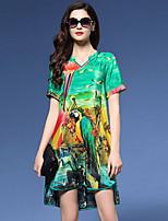 Women's Vintage Print Plus Size / Loose Dress,V Neck Asymmetrical Silk