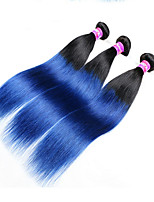 3Pcs Lot Grade 7A Malaysian ombre straight blue black hair extensions 1B/blue human hair weave cheap remy hair bundles