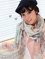 Voile Pink Eiffel Tower Landscape Printing Oversized Paris Yarn Scarf Silk Shawl