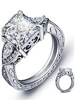 Women Fashion Sliver Luxury Zircon Ring Vintage Platinum Plated Ring