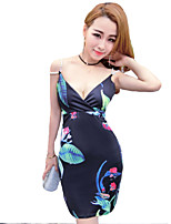 Women's Sexy Floral Bodycon Dress,V Neck Above Knee Polyester