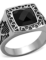 New Design Unisex High polished Stainless Steel Black Jet Synthetic Glass Fashion Ring for Men