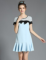 Women Large Plus Size Sexy See Through Mesh Hollow Bow Ruffle Short Sleeve Dress