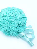 Bouquets de Noiva Redondo Rosas Buquês Casamento Azul Cetim / Espuma 9.06
