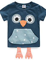 Girls T Shirt Pocket Owl Kidst Shirt Solid Color Cartoon Printing Girls Shirts Casual 2016 Summer Kids Clothes