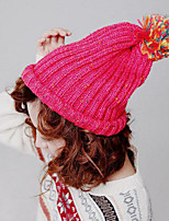 Women Hand Knitted Wool Casual Candy-colored Hairball Decoration Monochrome Hat