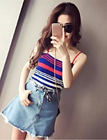 Women's Striped Blue Vest,Street chic Sleeveless