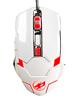 War Wolf 6D Wired Gaming Mouse 3200dpi 7 Colors Backlit Breathing Light for LOL/CF/DOTA White