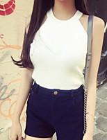 Women's Solid White / Beige / Black Vest,Street chic Sleeveless