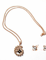 Delicate Gold Chain Crystal Necklace Floral Pendant with Stud Earrings Women's  Jewelry set