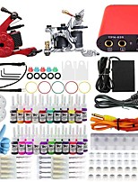 professionele en complete 2 pistool tattoo machine kit 40pcs inkt voeding naald grips tips