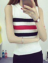 Women's Striped Red / White / Black / Gray Vest,Street chic Sleeveless