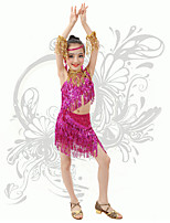 Latin Dance Children's Performance Spandex Sequins / Tassel(s) 2 Pieces Outfits Fuchsia