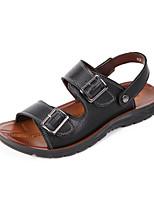 Zapatos de Hombre-Sandalias-Casual-Cuero-Negro / Marrón