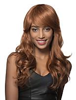estilos sorprendentes largos de luz castaño rizado pelo para las mujeres remy peluca sin tapa cabello humano