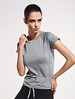 Women's Running T-shirt Yoga / Fitness / Running Quick Dry / smooth / Lightweight Materials Gray  Sports Wear