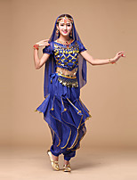 Belly Dance Women's Performance Fashion Chiffon Sequins 4 Pieces Outfits Dance Costumes