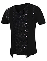 Men's Fashion Personality Fake Two Hollow Slim Fit Short Sleeve T-Shirt, Cotton /Polyester