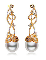 Women Classic Long Earrings Synthetic Pearl Drop Clear White Cubic Zircon Silver Pin 18K Gold Plated