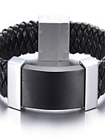2016 New Arrival Men's Stainless steel Jewelry Leather Bracelet