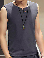 Summer Men'S Fashion Casual Flax Material Solid Color Sleeveless Vest T-Shirt