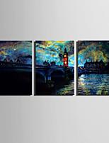 LED canvas-taide Maisema Moderni / European Style,3 paneeli Kanvas Pystysuora Tulosta Art Wall Decor
