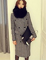 Women's Houndstooth Black Pea Coats,Simple Long Sleeve Cotton / Polyester