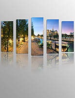 Night Paris River Photo to Painting 5 Panels for Living home&Bedroom