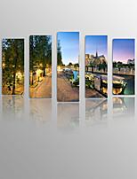 Canvastaulu Kuuluisa / Maisema / Asetelma / Leisure Moderni / Classic / Välimeren / European Style,5 paneeli Kanvas Pysty Panoramic