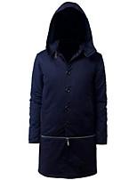 Gestreept-Informeel-Heren-Katoen-Trenchcoat-Lange mouw Zwart / Blauw