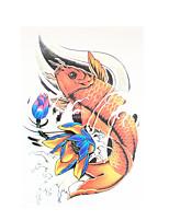 8pcs corpo trasferimento dell'acqua in vita l'arte autoadesivo provvisorio del tatuaggio donne uomini pesce carpa loto tatuaggio