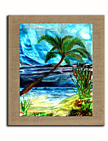 Oil Painting Modern Abstract Scenery aAkee Set of 1 Hand Painted Natural linen with Stretched Fram