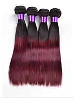3Pcs/Lot Ombre Hair Extensions1b/99j Peruvian Straight Virgin Hair Peruvian Virgin  Ombre Human Hair Weave