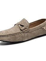 Men's Shoes Leather Casual Loafers Casual Flat Heel Slip-on Blue / Brown / Khaki