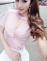 De las mujeres Un Color Camiseta-Escote Redondo-Poliéster-Manga Corta