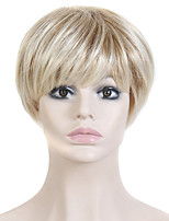 Heat Resistant Cheap Fake Hair Wig Short Straight Blonde Synthetic Wigs for Women