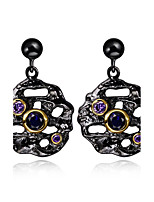 New Round design 18K Gold black Plated Cubic Zirconia Brass Lead free Drop earrings for women