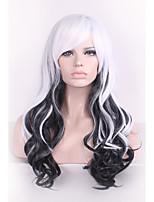 черный / белый Harajuku Ombre парик Парики Pelo курчавая естественная термостойкий аниме косплей erruque синтетические парики женщины
