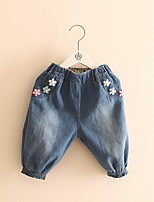 2016 New Fashion Girls Jeans Pants Embroidery Flowers Casual Kids Blue Jeans Denim Clothing For Children Trousers