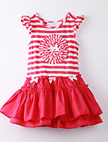 Girl's Striped Dress,Cotton Summer Red