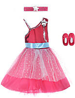 Performance Dresses Children's Performance Spandex / Polyester Sash/Ribbon 2 Pieces Burgundy Performance Sleeveless HighDress /