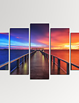 VISUAL STAR®Modern Seascape Giclee Artwork Sunset Bridge Canvas Print Ready to Hang