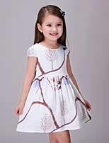 Girl's Print Dress,Cotton / Rayon Summer / Spring / Fall White
