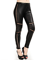 Women Shredded / PU Legging,Patent Leather / Polyester