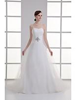A-line Wedding Dress-Court Train Strapless Organza