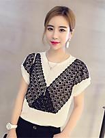 Women's Patchwork White T-shirt,Round Neck Short Sleeve