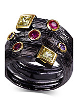 New Arrival Jewelry Black Gold Plated Multi Colors Cubic Zirconia Lead Free Evening cocktail ring for women