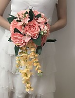 Wedding Flowers Cascade Peonies Bouquets Wedding / Party/ Evening Pink Satin 9.84