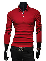 Men's Long Sleeve Polo,Cotton / Polyester Casual / Work Solid / Patchwork